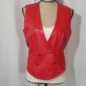 Leather craft Vintage red leather Vest. Size 8